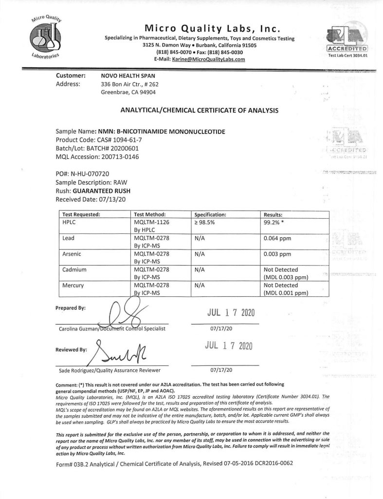 Micro Quality Labs Certificate